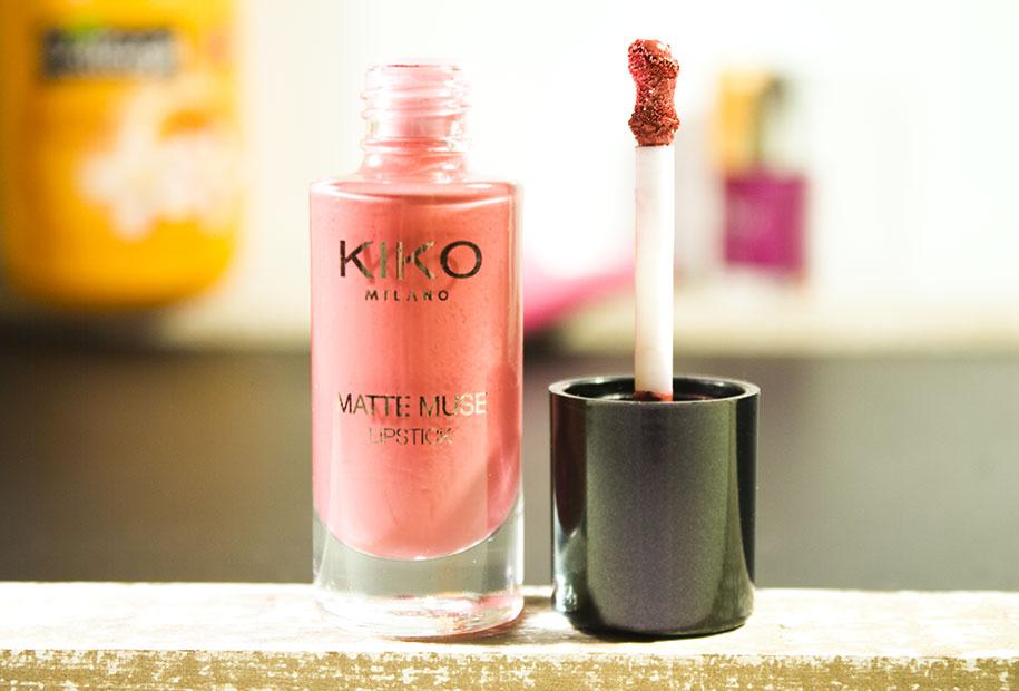 Gros plan du rouge à lèvres Kiko Matte Muse couleur vieux rose