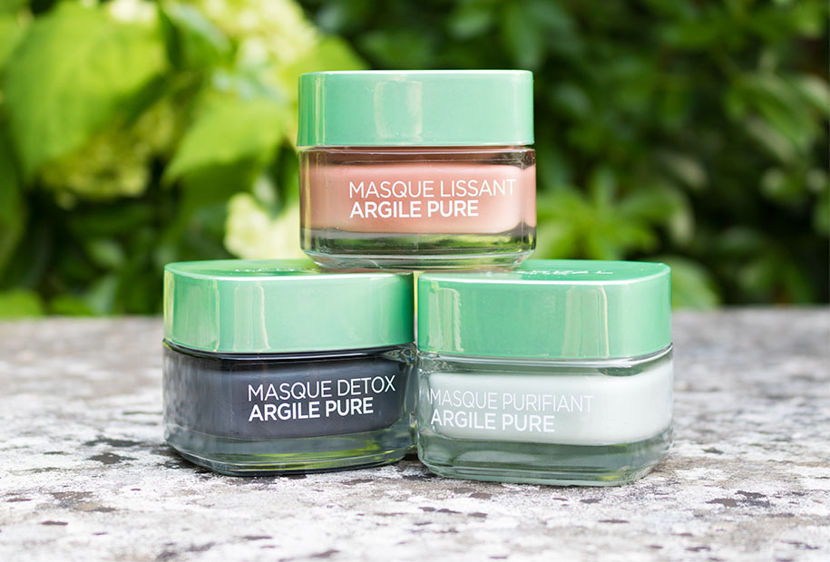 Photo de l'ensemble des masques L'Oréal à l'argile pure