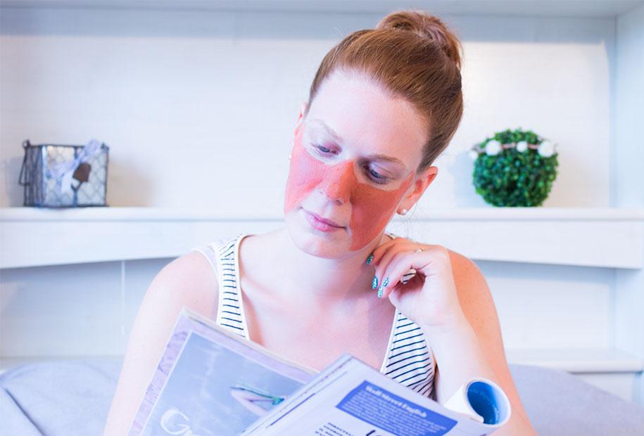 Zoom sur le masque L'Oréal aux algues rouges porté