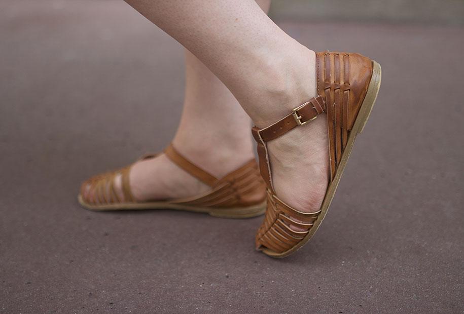 Zoom sur les sandales marron Forever 21