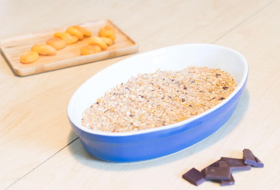 Résultat de la préparation des barres de céréales avant cuisson