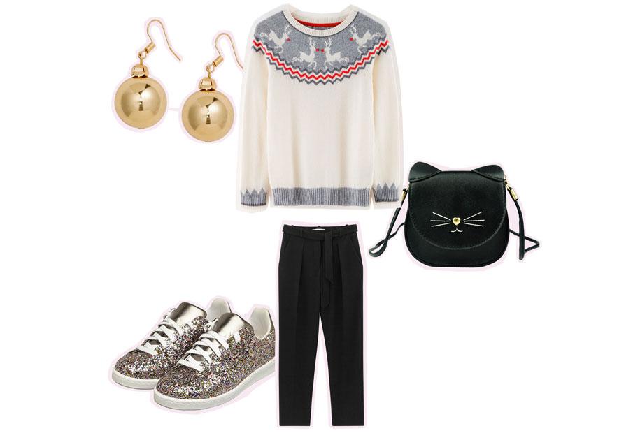 Pull de Noël et baskets à paillettes pour le troisième look de fêtes