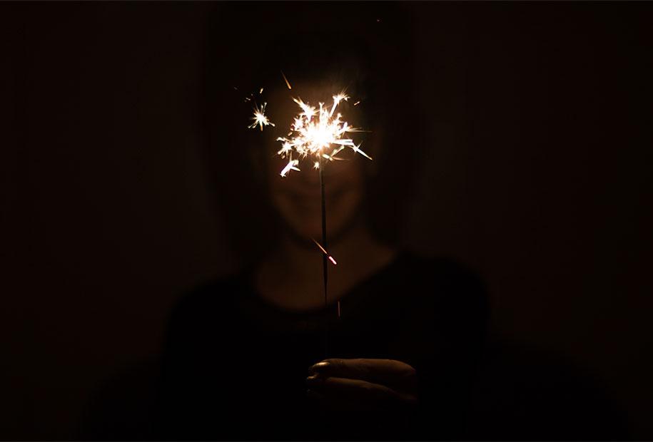 Bougie pétillante pour la nouvelle année 2017