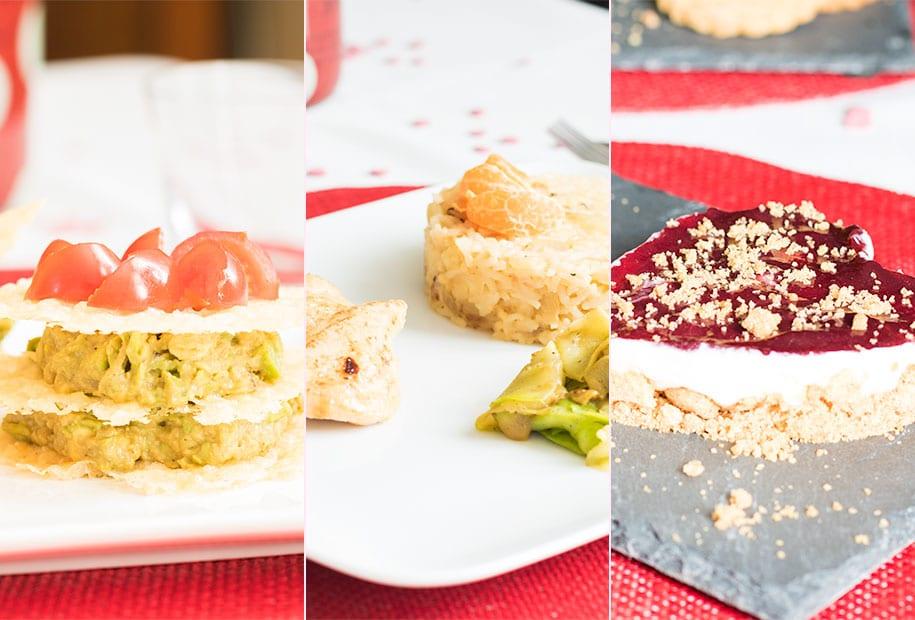 Zoom sur l'entrée, le plat et le dessert à l'occasion de la recette spéciale Saint Valentin