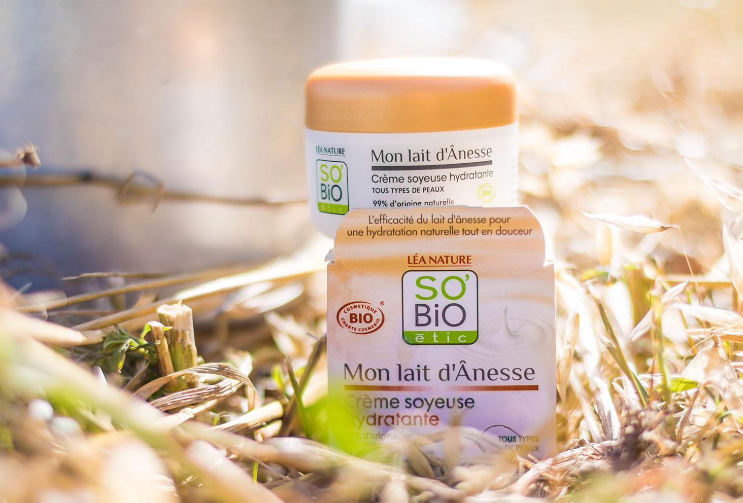 Présentation de la crème visage au lait d'ânesse de la gamme Mon lait d'Ânesse de la marque SO'BiO étic