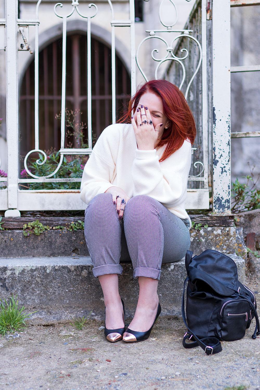 Pull blanc Zara et pantalon pied-de-poule du look de la rentrée 5
