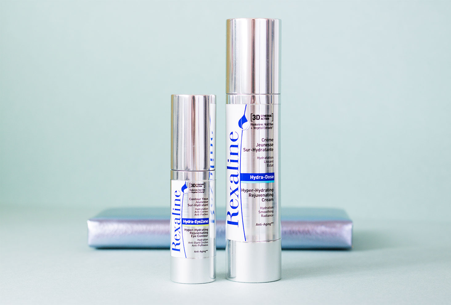 Zoom sur les packagings des produits soins visage de la marque Rexaline