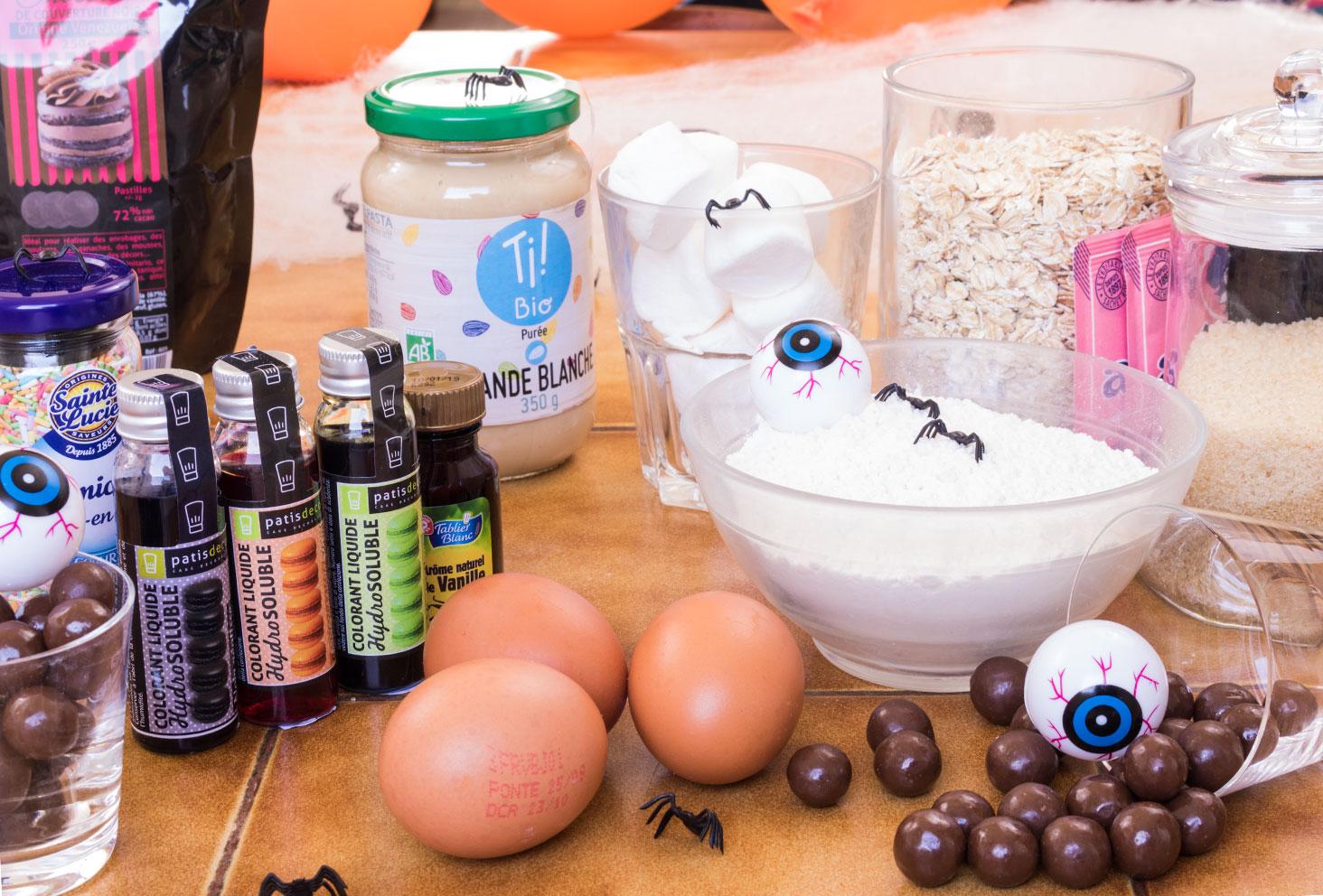 Ensemble des ingrédients nécessaires à la réalisation du goûter d'Halloween
