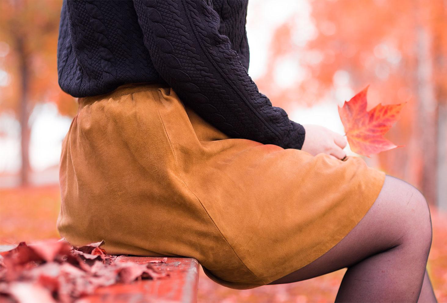Zoom sur la jupe came de la marque Benetton trouvée sur le site de Modz pour un look d'automne
