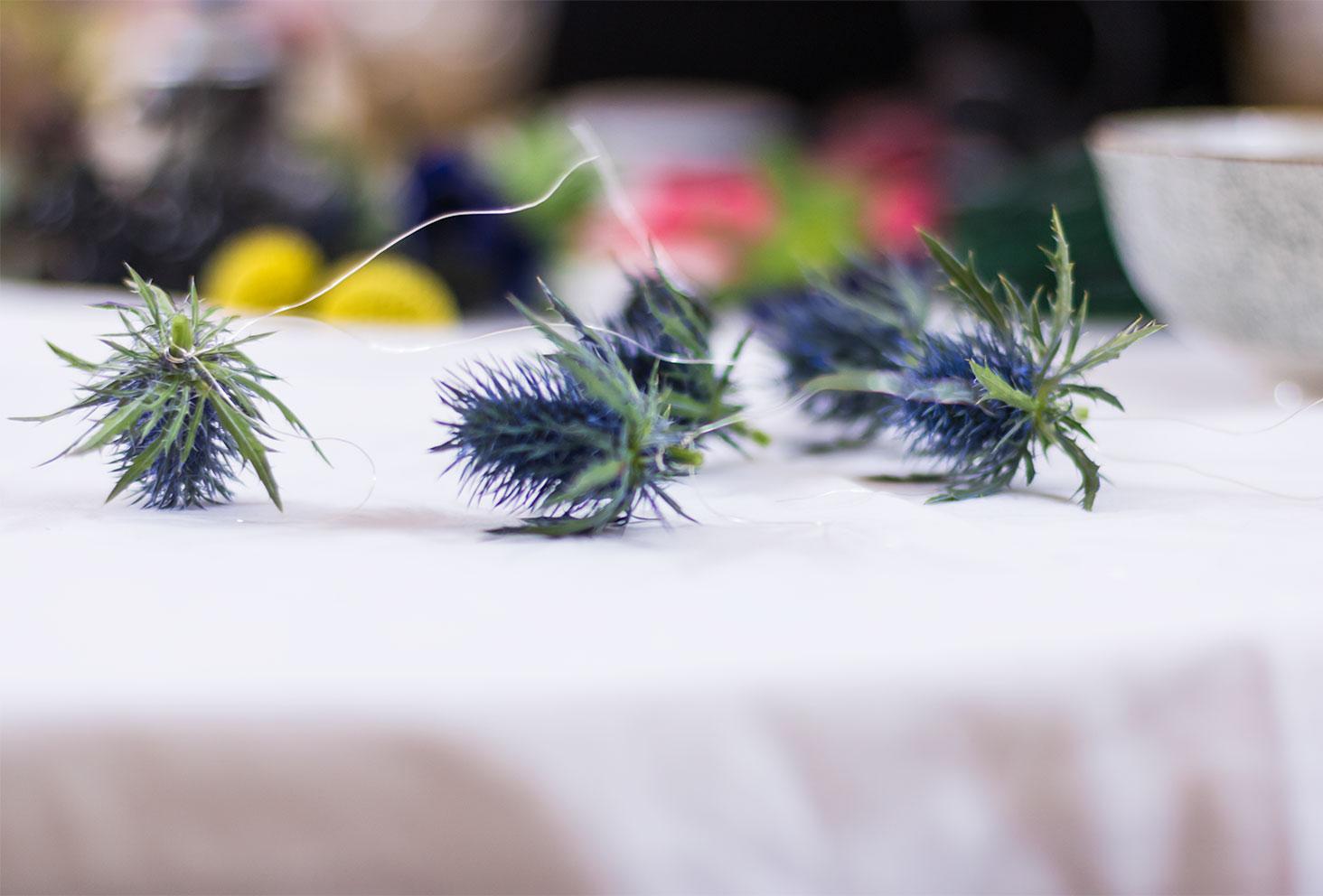 Zoom sur le montage du fil de fer sur un chardon pour être fixés sur la couronne de fleurs