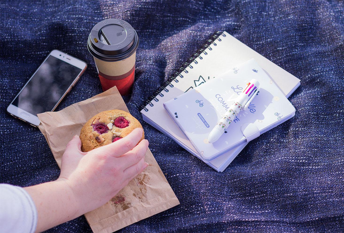 La panoplie nécessaire au premier bilan de formation : l'agenda, le carnet, le crayon, le téléphone, le cookie et le café, sur un plaid gris chiné