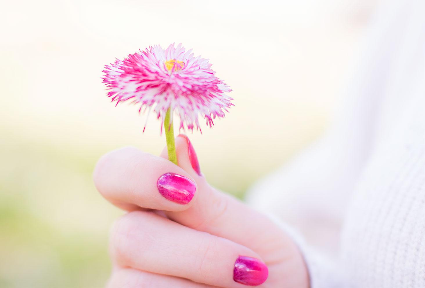 Fleur rose et blanche dans les mains de la même couleur que le nailart dégradé SO'BiO étic