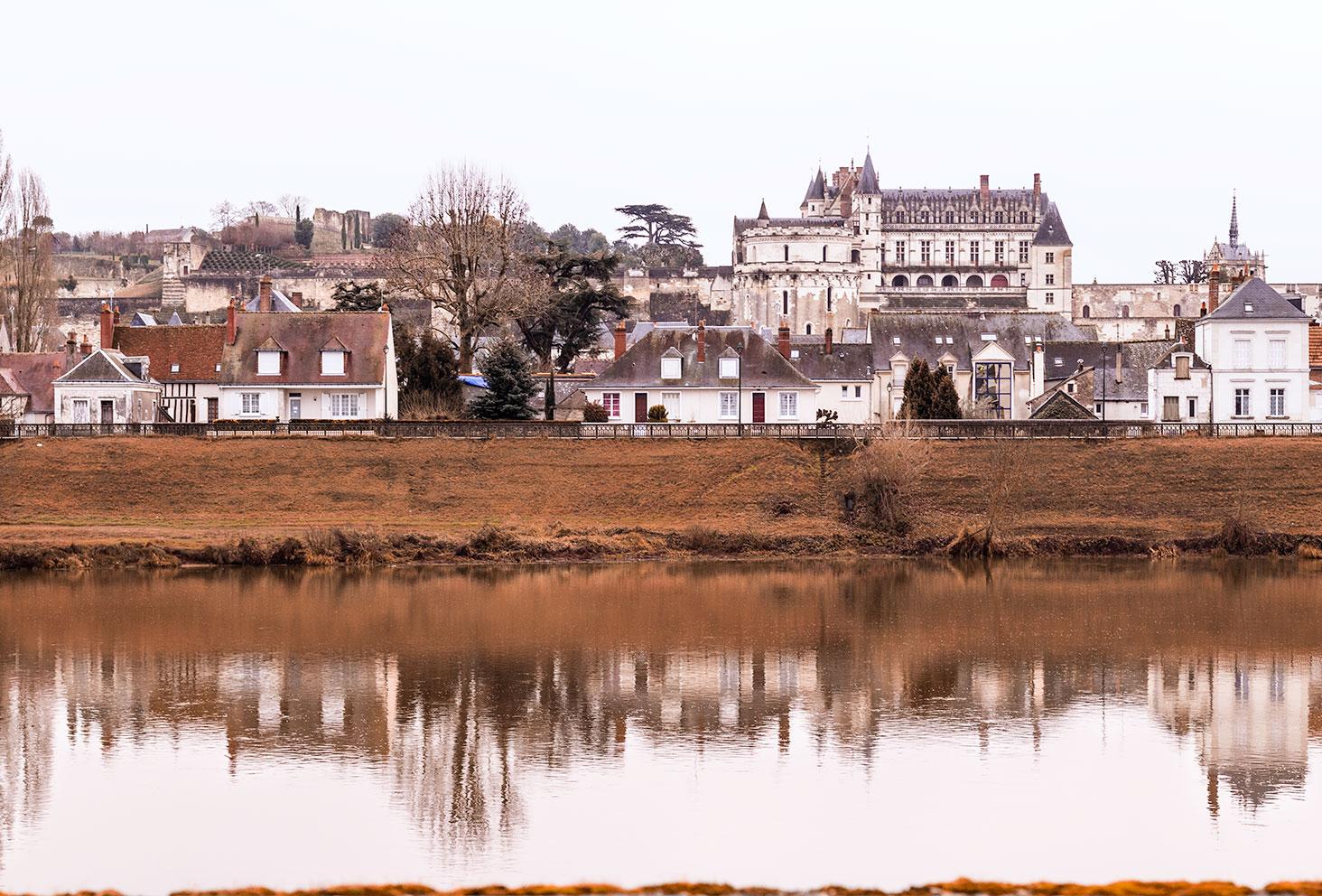 Photo paysage du château et de la ville d'Amboise de l'autre côté de la Loire