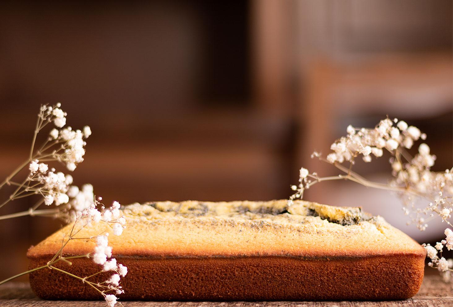 Zoom sur un marbré à la crème de sésame noir sur une planche en bois au milieu de fleurs séchées blanches