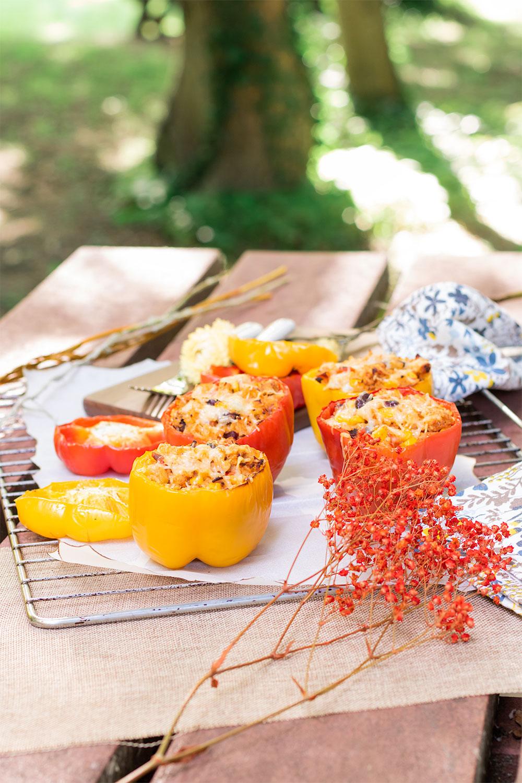 Les poivrons jaunes et rouges farcis à la mexicaine posé sur une grille de four, sur une table de pique-nique au milieu de fleurs séchées