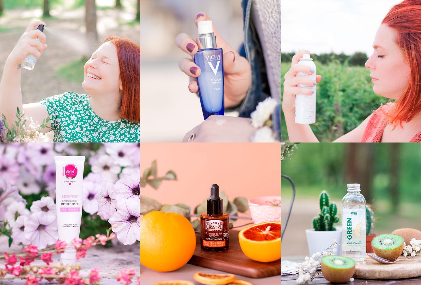 Mosaïque des différents produits de la routine visage idéale pour l'été