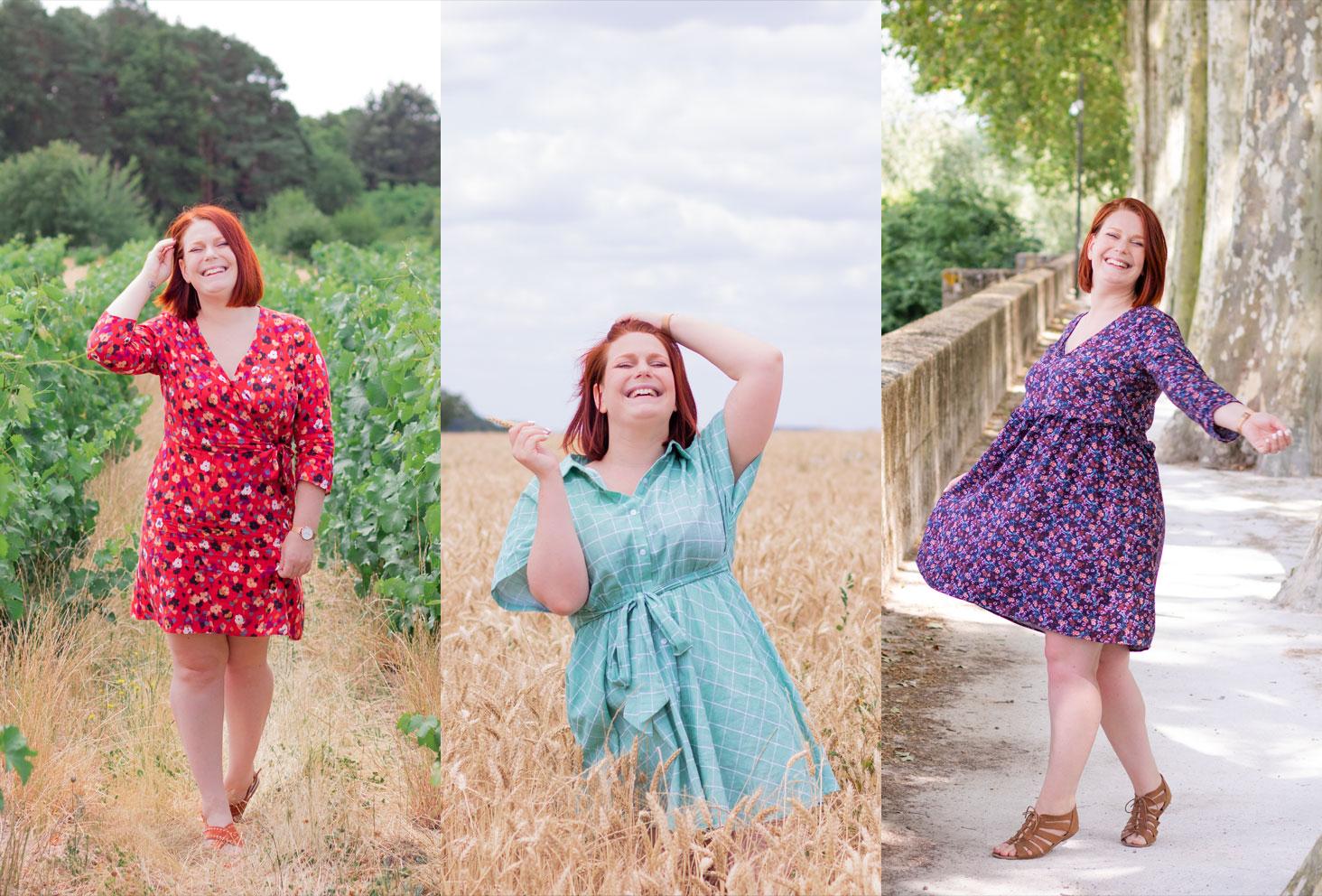 Trio des jolies petites robes d'été fluides, légères et confortables