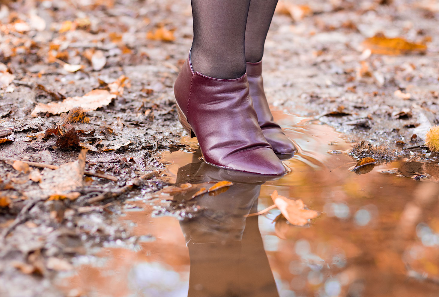Des bottines plates bordeaux de La Halle portées dans une flaque au milieu de la forêt, le reflet dans l'eau