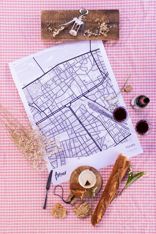 Une carte de Tours Mapiful comme idée cadeau