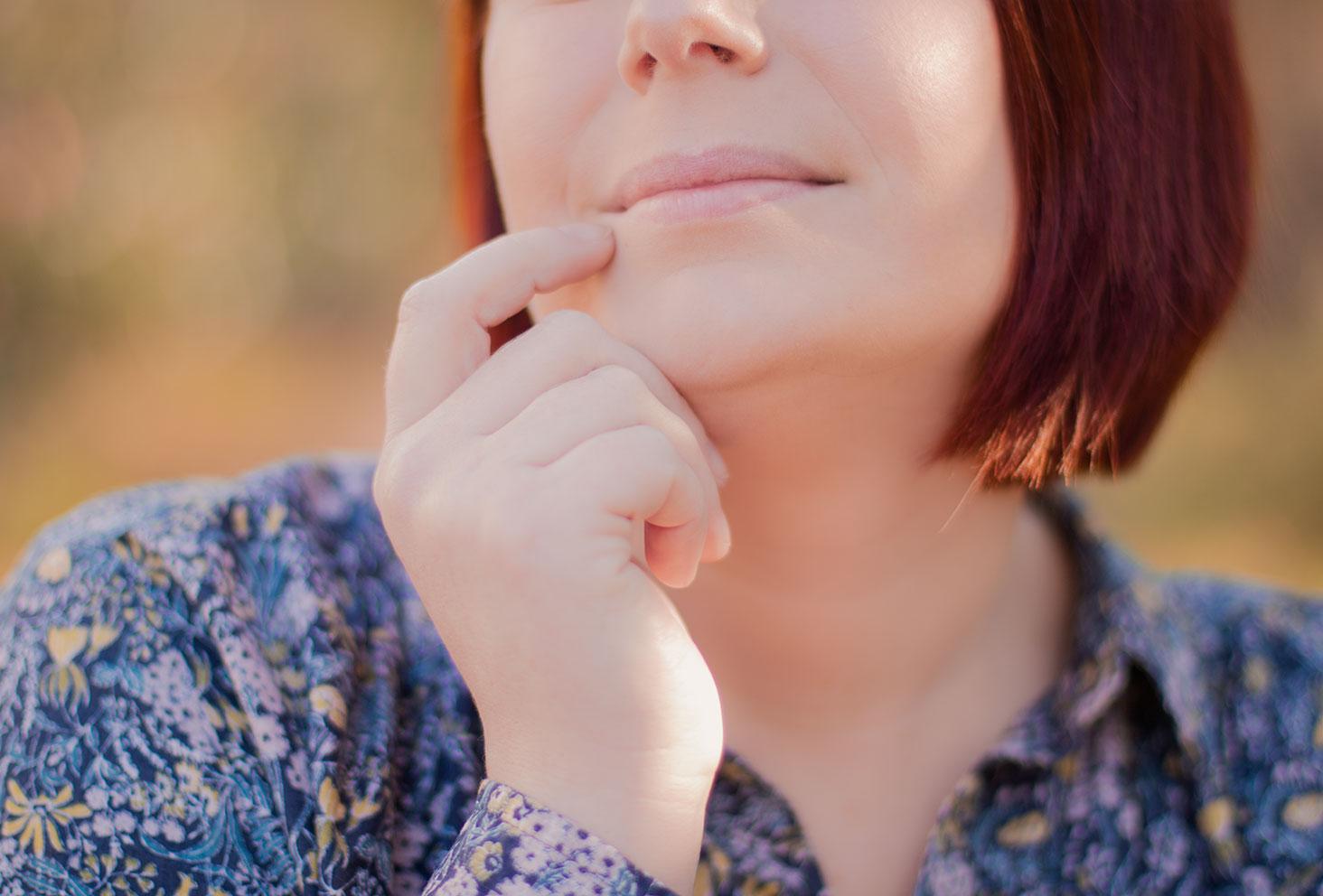 Zoom sur les lèvres pour montrer le résultat des baumes à lèvres