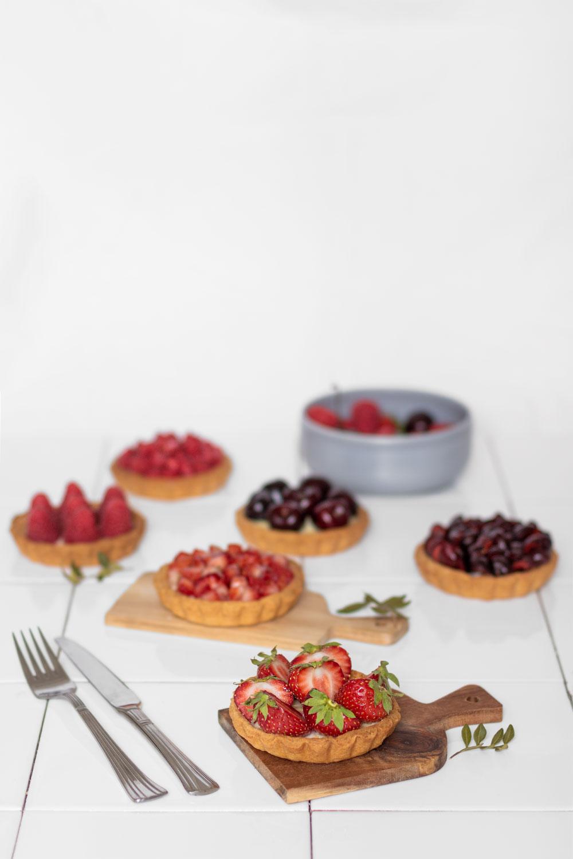 Zoom sur une tartelettes aux fraises