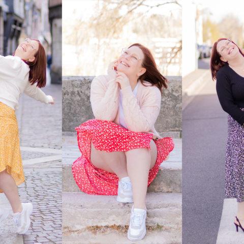 Mix and Match d'une jupe fluide et asymétrique La Halle dans plusieurs styles