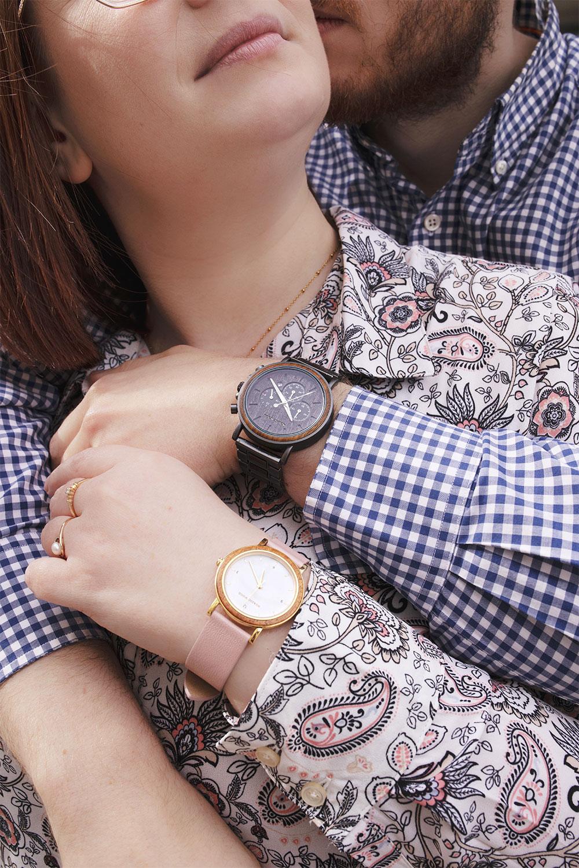 Zoom sur les montres Nordic Wood portées en couple